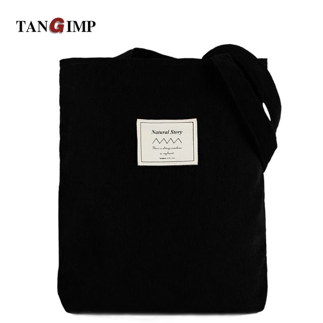 TANGIMP 2017 Corduroy Handbags Vintage Solid Black Big Carry-all Eco Ethnic Women Shoulder Bags Tote bolsa compra 3/2Handles