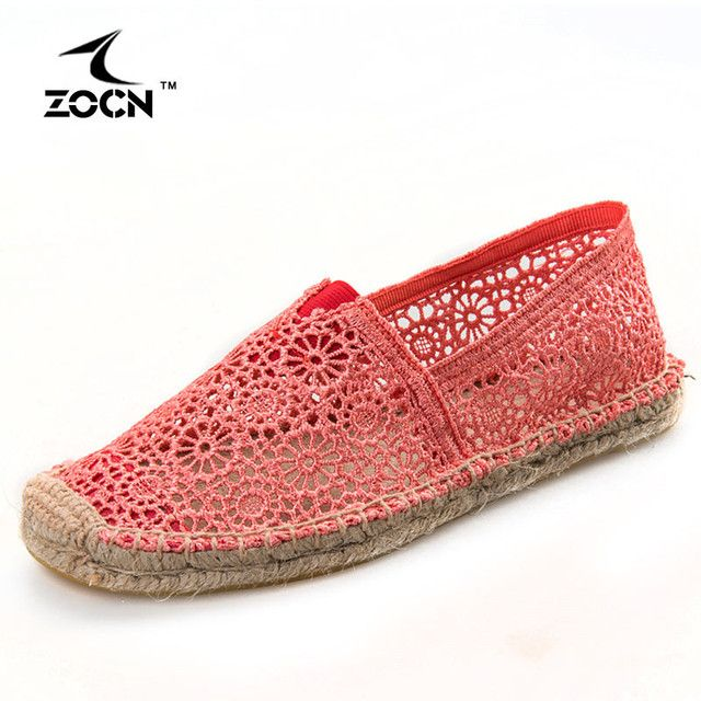 ZOCN 2016 Hollow Out Loafers Women Shoes Woman Flats Canvas Fisherman Shoes Weave Rope Ballet Flats Shoes Cheap Handmade Loafers