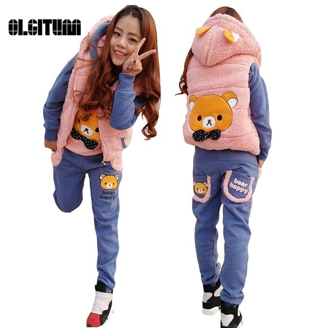 2016 fall &winter clothes for ladies cartoon bear sweater three-piece leisure suit thick fall and winter plus velvet plus cotton