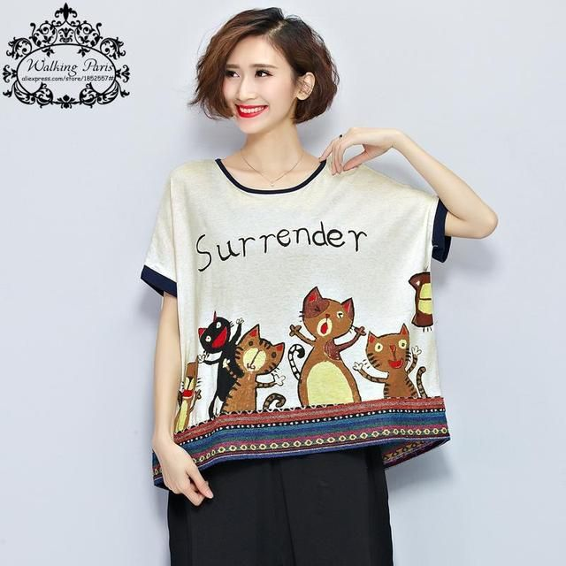 Big Size Women Summer Style T-Shirt Fashion Cat Pattern Printing Casual Tee Female Short Tumblr Vintage Kawaii Plus Size Tops