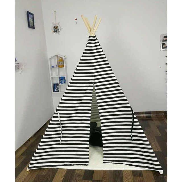 New design white and black stripe  kids play tent indian teepee children playhouse children play room teepee