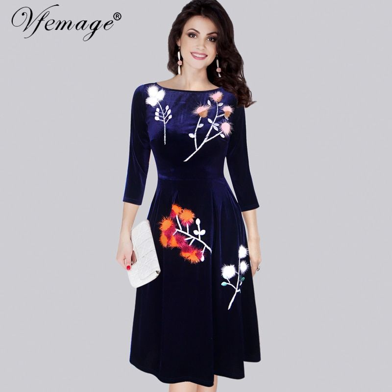 Vfemage Womens Velvet Elegant Vintage Retro Winter Spring Tunic Casual Party Special Occasion Skate A-Line Dress 4301