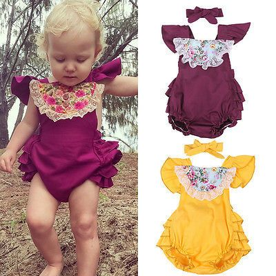2017 New Floral Newborn Infant Baby Girls Sleeveless Bodysuit Jumpsuit Playsuit 2PCS Outfits 0-24M