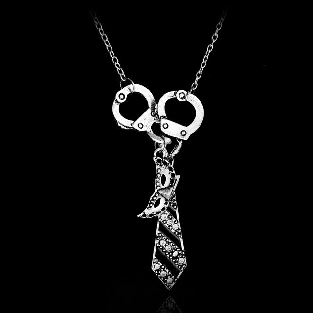 Female Charming Jewelry Necklace Inspired by 50 Shades of Grey Christian Gray SOG Trilogy Handcuffs Masquerade Mask Tie Collier
