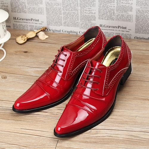 New 2016 men oxfords pointed toe patent leather men dress shoes men wedding shoes height increasing casual shoes size 39-43