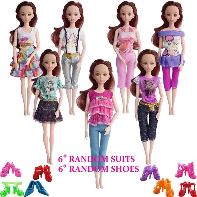 12 Items=Random 6 Set Beautiful Doll Fashion Suits+ 6 Pair Shoes Doll Clothes Outfit For 12 Inch Dolls Accessories Girl Gift Toy