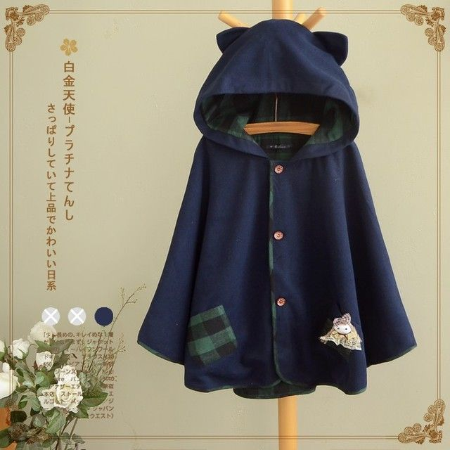 Cat Ear Pocket Tail Cape Women Harajuku Cloak Hoodies Fleece Warm Lolita Jacket Kawaii Soft Cute Gray/Navy blue Japanese Coat