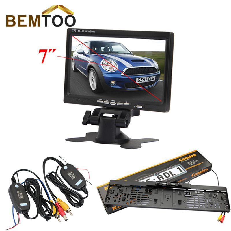 "BEMTOO Car Rear View Kit License Plate Reversing Camera+7"" TFT Monitor+2.4G Wireless Adapter with trigger wire Kit"