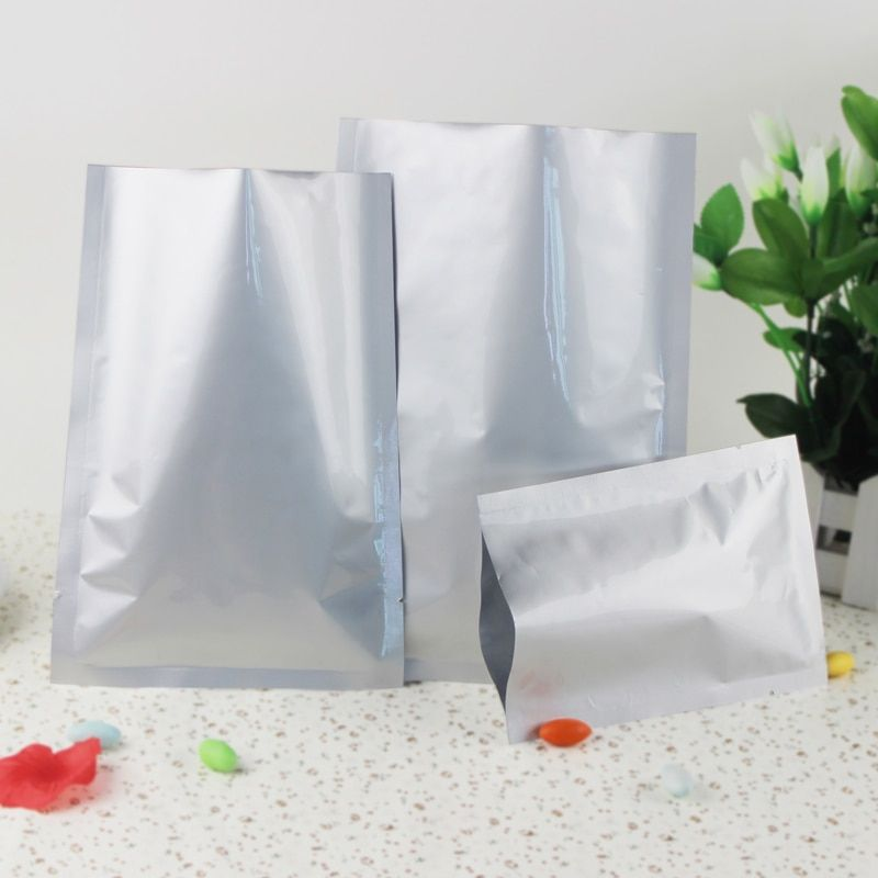 200Pcs/Lot 6 Sizes in Open Top Silver Aluminum Foil storage bag Heat Seal Vacuum Pouches Food Packaging bags Package