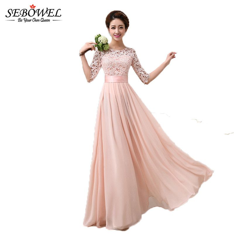 SEBOWEL 2019 Autumn Winter Women Long Chiffon Dress Half Sleeve Maxi Dresses For Female Formal Wedding Party Lace Bridesmaid