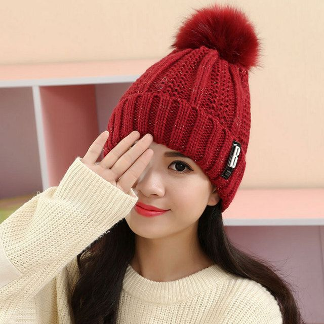 Winter Hats for Women Knitted Acrylic Hats Mix Colors Skullies And Beanies Fur Ball Pompom Caps Female Beanie WL-066
