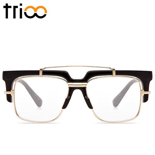 TRIOO Cool Mens Eyewear Frames With Oiriginal Case Seimi-Rimless Square Glasses Men High Fashion Clear Lens Optical frame