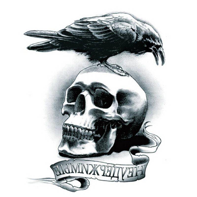 Hot Bird Eagle Skull Tattoo Temporary waterproof Tattoo Stickers Body Art for Men Women Hallowmas Accessories CC2426
