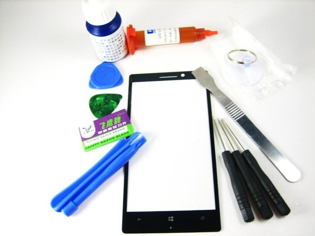 Front Glass (no LCD Display Touch Screen) + Full Set Opening Tools + Screwdrive + Glue + Debonder for NOKIA LUMIA 930