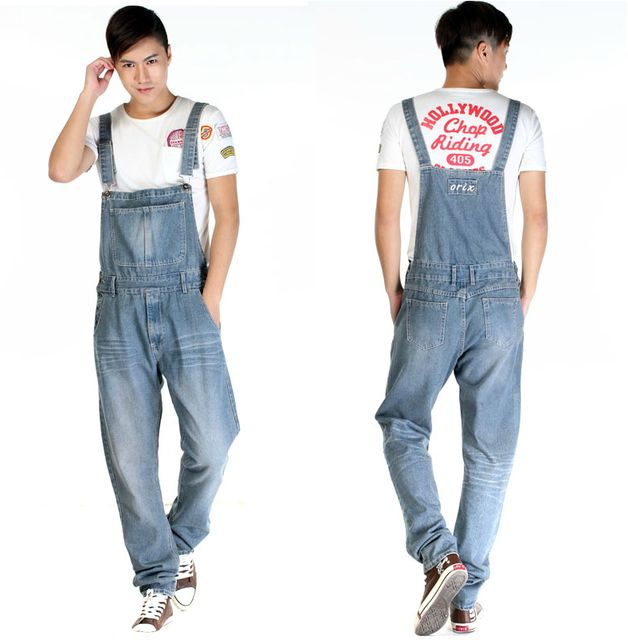 2014 New Fashion Reminisced Men vintage Trousers Casual Jeans WASH pants loose plus size overalls zipper Overalls denim jumpsuit