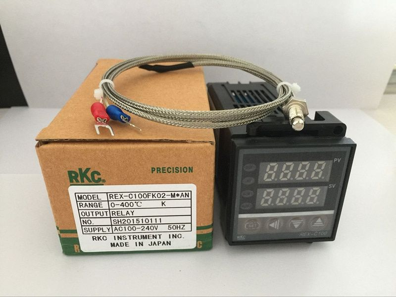 Dual Digital RKC PID Temperature Controller REX-C100 with K thermocouple, Relay Output / SSR output