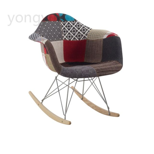 Leisure minimalist modern room furniture fashion living room Balcony chair Casual Cloth wood leg cloth Rocking chair