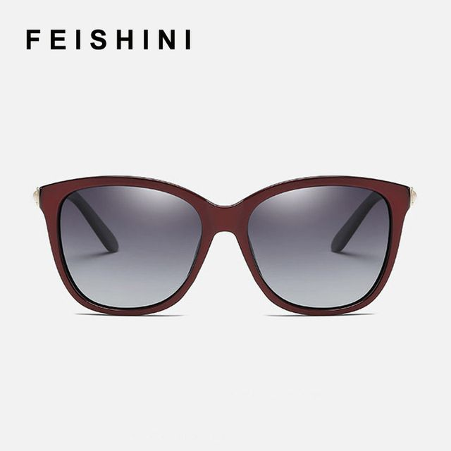 FEISHINI Brand UV Noble Delicate Crystal Gradient Lenses EyeGlasses Designer Driving Square Sunglasses Women Polarized Vintage