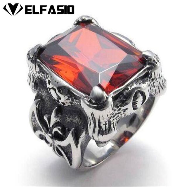 Men's Stainless Steel Ring Dragon Claw Red Cubic Zirconia Biker Jewelry Size 8-13