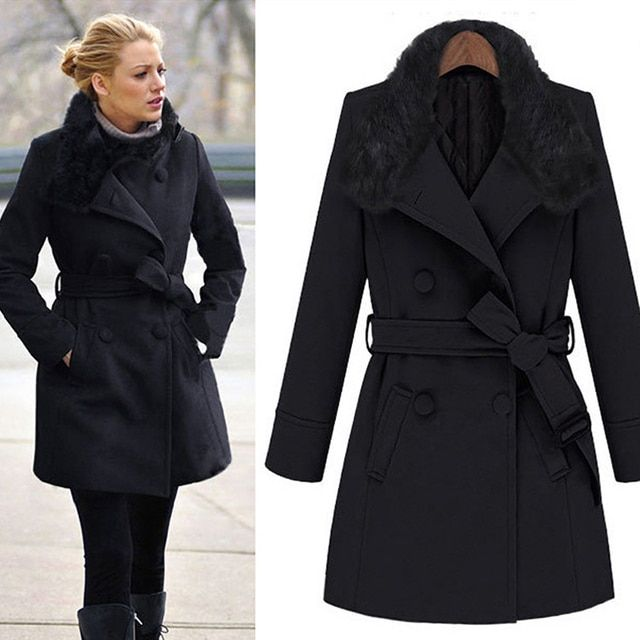 Vintage womens winter jackets Long wool coats Fur Hooded European Style