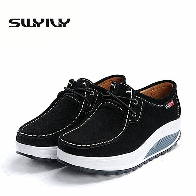 Leather Women Toning Shoes 5CM Wedge Height Increased Women Loss Weight Slimming Shoes Lacing Spring Autumn Sneakers