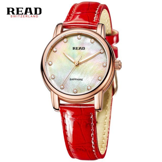 READ scratch resistant red wrist strap for leather women watches 2017 sapphire crystal  horloges vrouwen mode luxe merk 6032