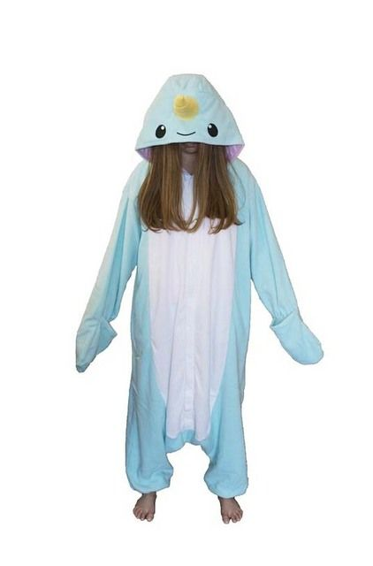 Adults New Winter Warm Pajamas Unique Narwhal Onesies Polar Fleece for Unisex Big Size Loose and Baggy Style