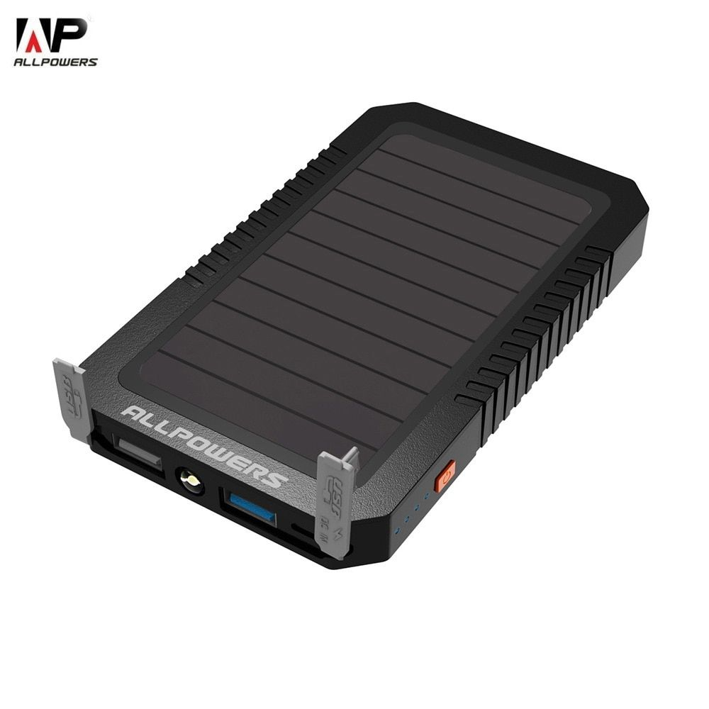 ALLPOWERS 12000mAh Solar Charger Panel Water Resistant LED Torch Power Bank Dual USB Output