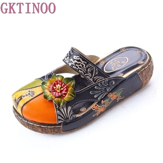 GKTINOO Summer Women's Wedges Sandals Closed Toe Flower Ethnic Style Handmade Genuine Leather Personalized Women Slippers Shoes