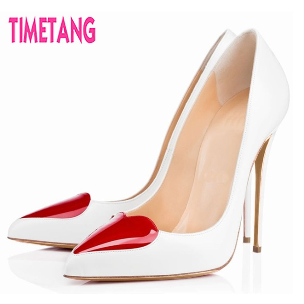 New Arrival Elegant OL Women Pumps Unique Red Heart-Beat High Thin Heel Shallow Mouth Pointed Toe Stiletto Single Women Shoes
