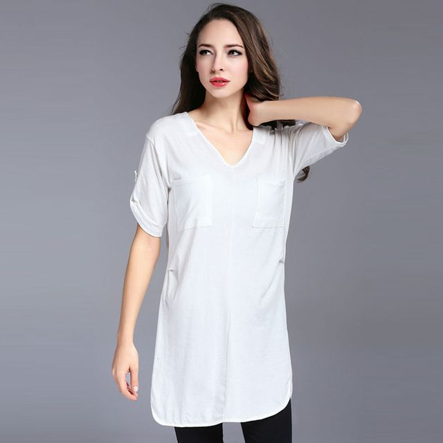 Plus Size L-4XL Women Summer T Shirt Casual V Neck Short Sleeve Cotton Tops Loose Tee with Pocket 2015 New Fashion Clothes