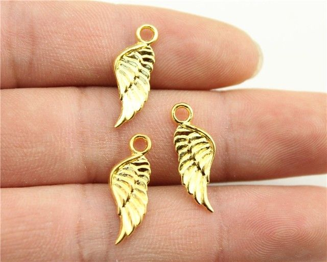 15pcs 21x8mm Gold Color Wing Charms