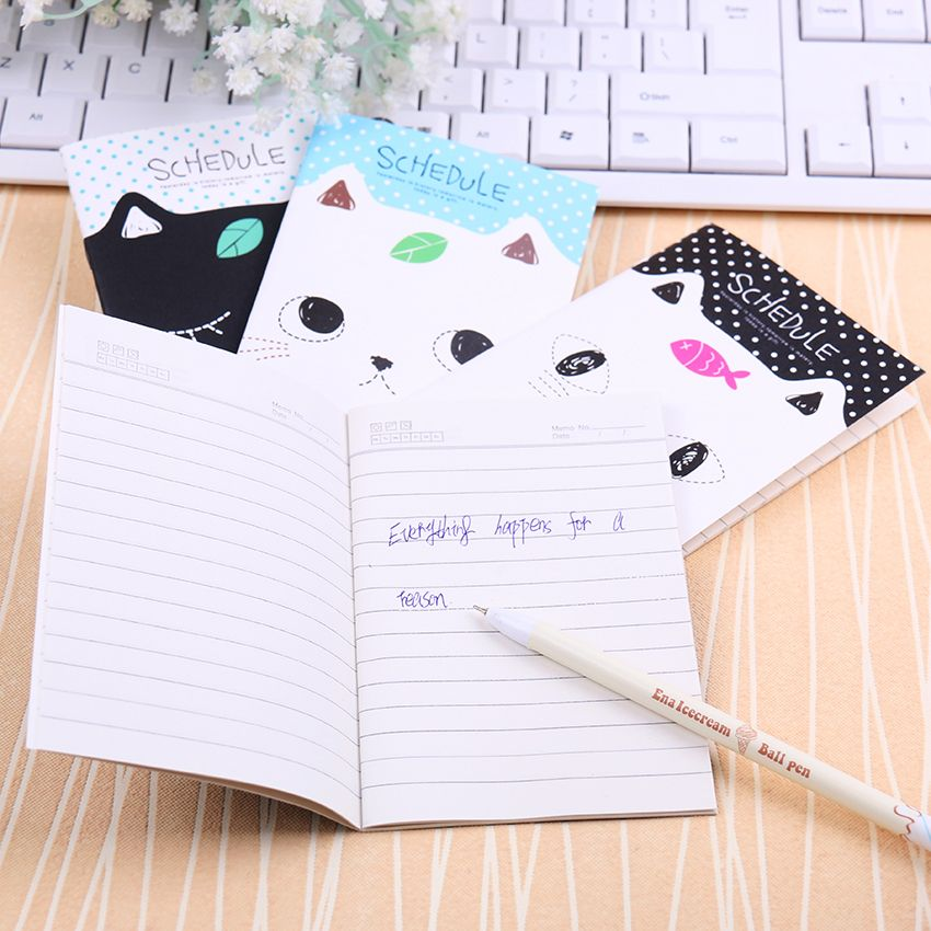 Korean Stationery Notebook Office Supplies School Creative Cartoon Cat Style Filofax Notepad Diary Students