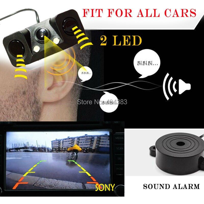 1 Sound Alarm CCD HD Car Reverse Backup LED Rear View Camera Parking Radar System, Rearview Camera + 2 Sensors