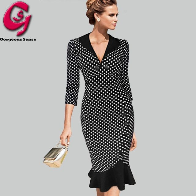 Women Office Vintage Dress Tunic Mermaid Retro Party Pencil Bodycon Dresses Fashion Ladies V Neck Casual Work Clothes 2015 UK