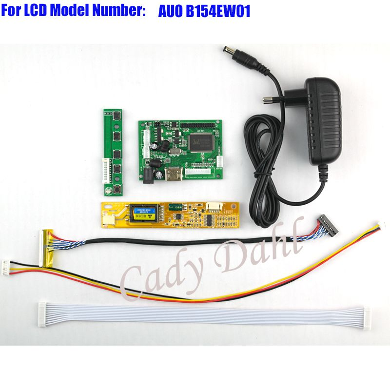 HDMI Controller Board + Backlight Inverter + 30Pins Lvds Cable + Power Adapter Kit for B154EW011280x800 1ch 6 bit LCD Panel