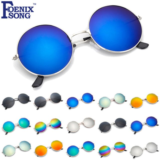 FOENIXSONG Brand New Fashion Accessories for Women UV400 Mirror Anti-Reflective Lens Vintage Round Sunglasses Black Blue Green