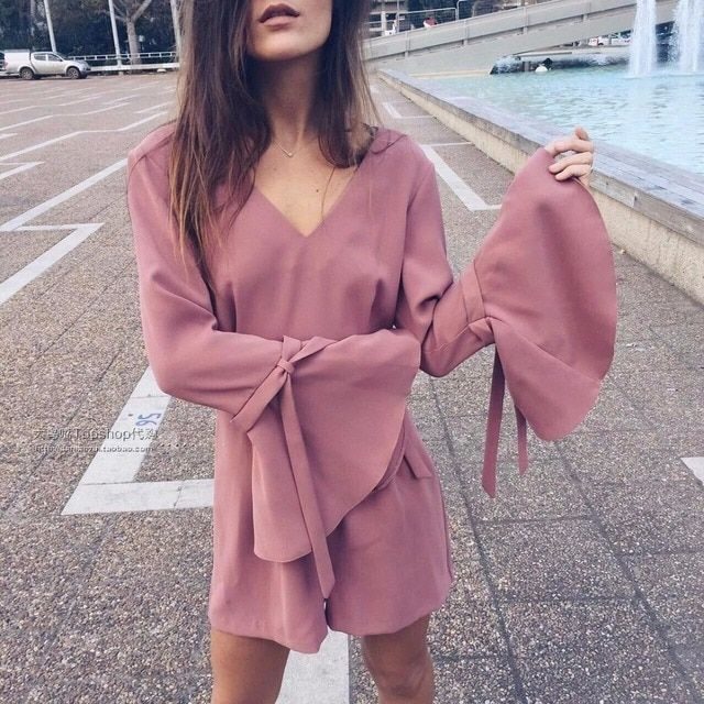 women jumpsuit long Sleeve Ruffles Bow Pink Playsuits V Neck jumpsuit nordic way J8165