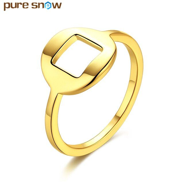 Pure Snow Jewelry New Fashion Gold Color Square Rings Round Engagement Rings Women Wedding Accessories