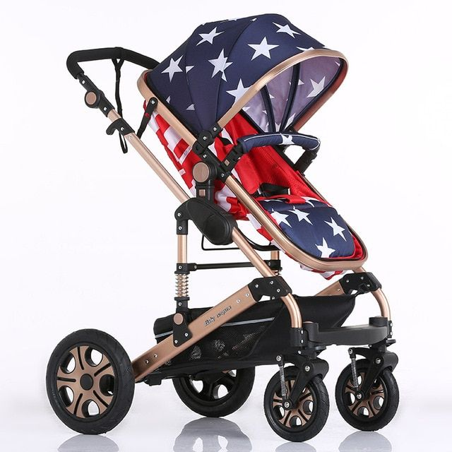 Four Wheel Boarding Baby Stroller Easy Folding Cart Kids Carriage Buggy Baby Pram Style Multiple Colors Bassinet