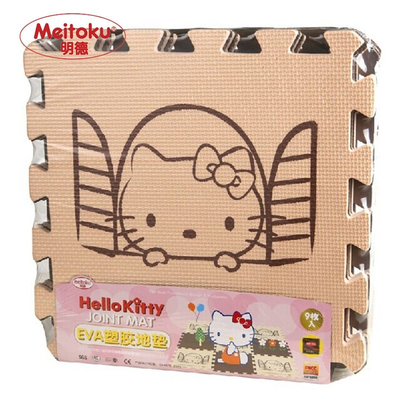 Meitoku baby play EVA foam puzzle mat /Cartoon EVA foam pad / Interlocking Mats for kids30X30cm  1cm Thick 9pcs/set