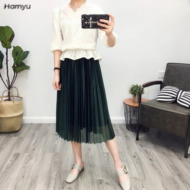 2017 New Fashion Women Summer 1 Layer Tulle Skirts Elastic Waist Ladies Mesh Skirt Womens Straight Solid Mid-calf Pleated Skirt