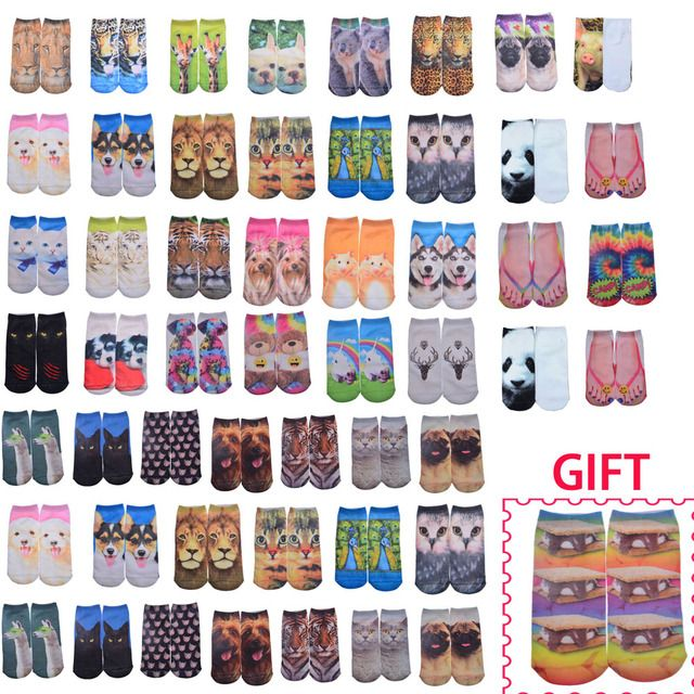 230 Pairs Wholesale Promotion Fashion 3D Socks Interesting Patterns Animals Funny Low Cut Ankle Socks For Women/kids