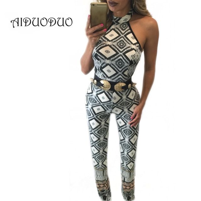Sexy Black And White Print Club Jumpsuits And Rompers Summer Style One Piece Backless Long Pants Elegant Overalls For Women