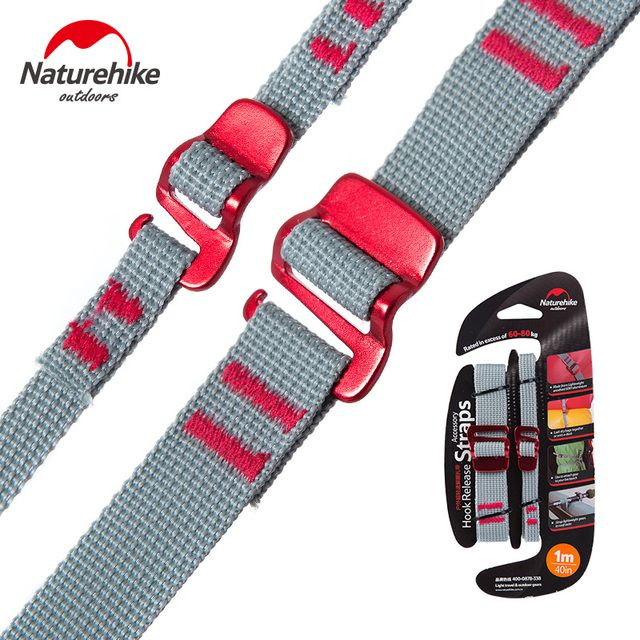 Naturehike 2pcs Ultralight Outdoor Packaging Rope Backpack Bundling Belt Alloy Buckle Accessory Straps Hiking Camping Tent Red