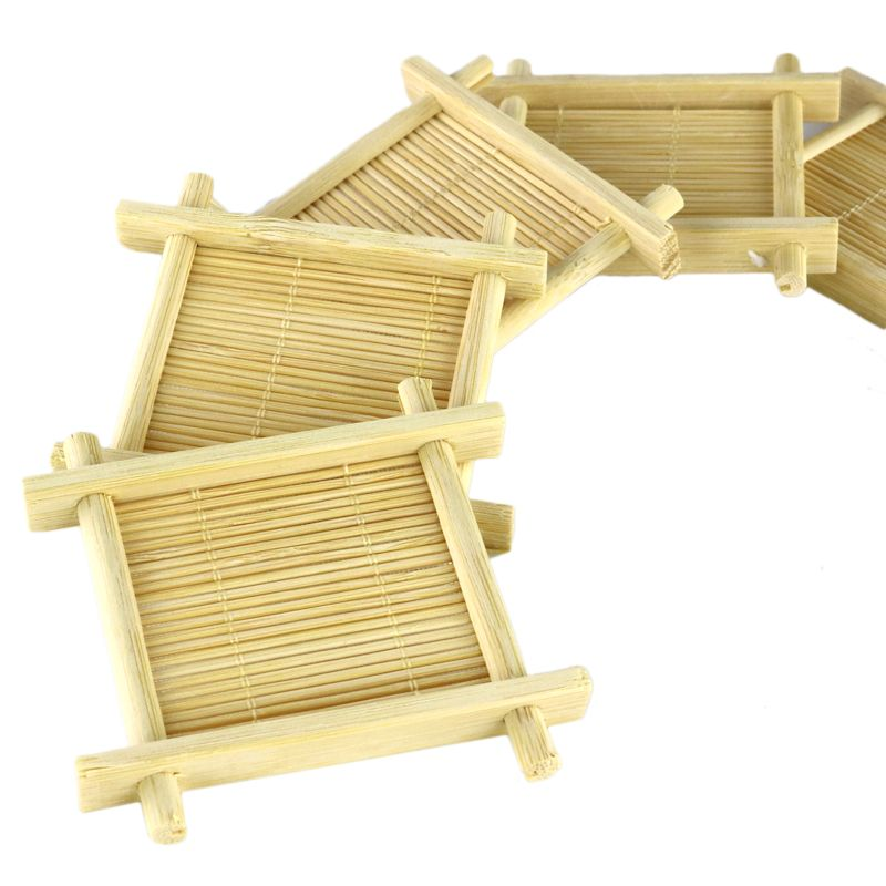Handmade bamboo cup mat  Kung Fu Tea Accessories Table placemats coaster coffee cups drinks kitchen accessories mug mats & pads