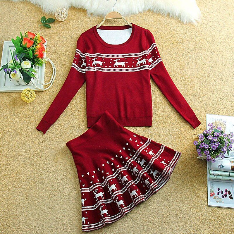 Knitted Skirt Suit woman 2016 Autumn Winter Female Skirts Sets 2 piece Set Women Knit Geometry Deer Sweater And Tutu Skirt Suits