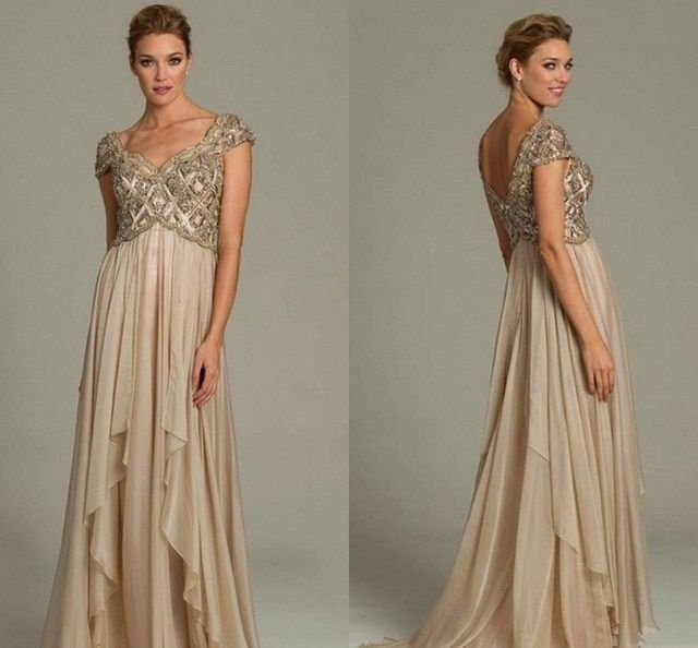 2015 Long Mother of The Bride Dresses Champagne Gold Crystal Beads Formal Dress Evening Gowns Backless For Wedding
