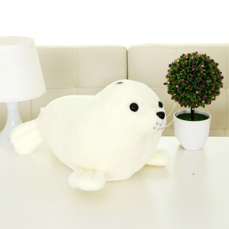 30CM White Cute Sea Lions Stuffed Toy Children Plush Toys Soft Animal Doll Stuffed Sea Lions Doll Cartoon Pillow Baby Gifts MR46