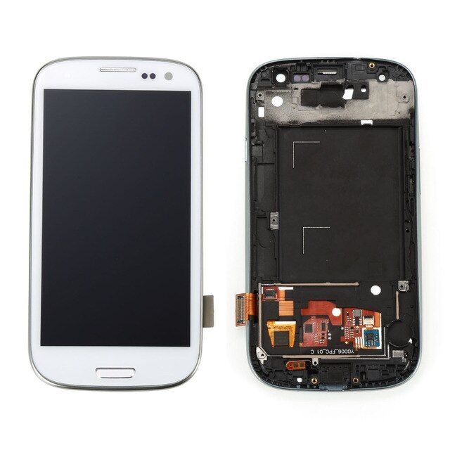 white black blue LCD display Touch Screen with Digitizer full assembly repair parts with frame For samsung galaxy s3 S III I9300